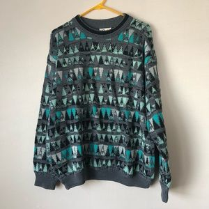 COOGI—Grey & Teal Cosby Sweater